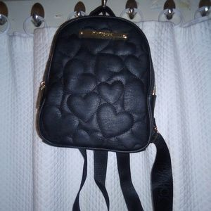 Betsey Johnson Black Faux Leather Backpack